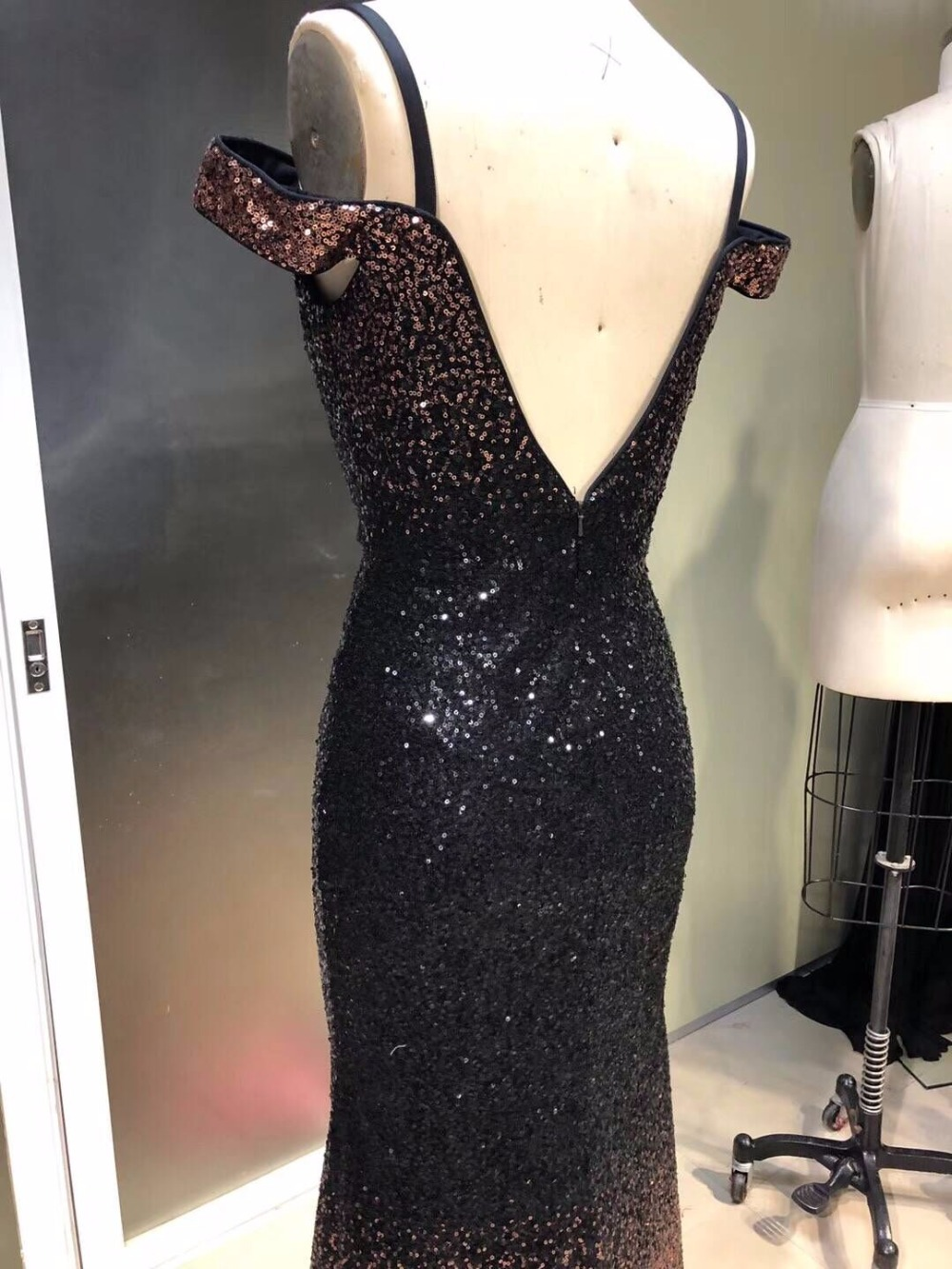 Summer Sexy Mermaid Prom Dresses Short Sleeve design Evening Dress Sequins New Design Amazing Party gown beading Evening gown - 4