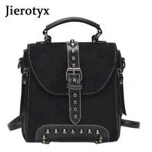 купить JIEROTYX Casual Women Rivet Backpack Small Ladies Vintage Shoulder Bags Mini Teenage Female Small Daypack Black Punk Bag по цене 1319.26 рублей