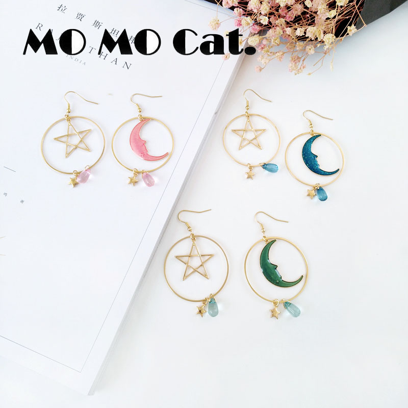 Free shipping Fashion jewelry Wholesale gift Sweet girl heart round ear ring star moon earrings.