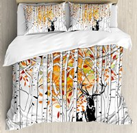 Deer Duvet Cover Set Deer in Forest Autumn Colors Trees Foliage Wilderness Seasonal Artwork 4 Piece Bedding Set