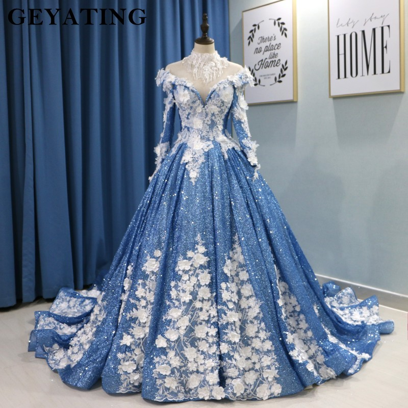 Spark Glitter Wedding Dress Luxury Lace Beaded High Neck