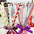 Stripe Paper Straws Drinking Biodegradable Party Event 25pcs/lot Birthday Wedding Supplies