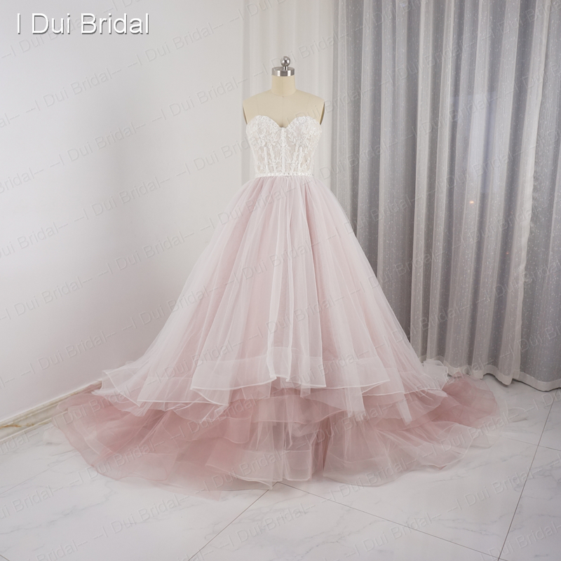 Sweetheart pale pink wedding dresses tulle layers lace pearl beaded sweetheart pale pink wedding dresses tulle layers lace pearl beaded luxury fairy romantic bridal gown real photo in wedding dresses from weddings events junglespirit Images