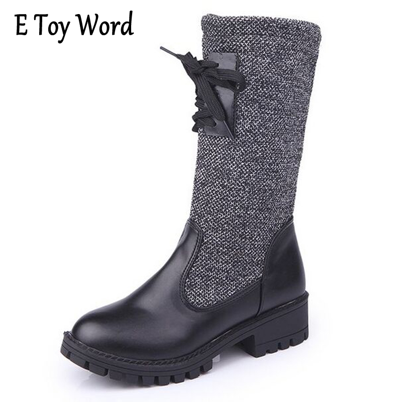 E TOY WORD New Hot Autumn Winter Warm high heels artificial nubuck leather casual female Mid-Calf Women Boots Knitting shoes new autumn winter warm women shoes snow boots square high heels artificial leather top casual female elastic band ankle shoes