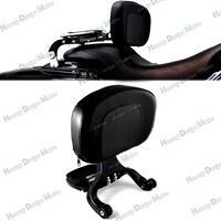 Black Multi Purpose Adjustable Driver & Passenger Backrest For Harley Touring Street Glide Road King Cross Country