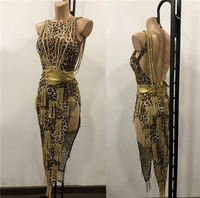 GOODANPAR Latin Dance Dress Women Leopard Print Latin Dress Stage Dance Wear Salsa Samba Cha Cha Costume Latin Skirt Customized