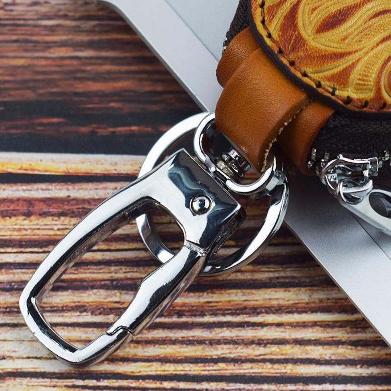 2019 Vintage Genuine Leather Key Wallet Women Keychain Covers Zipper Car Key Case Bag Men Key Holder Housekeeper Keys Organizer