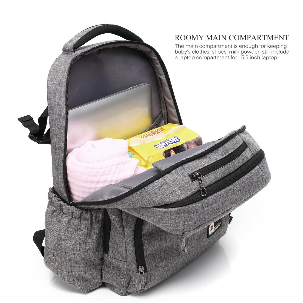 Multi-function Diaper Bag Backpack Large-Size Baby Bag Insulated Pockets & Changing Pad/ Water-resistant Travel Knapsack Nappy