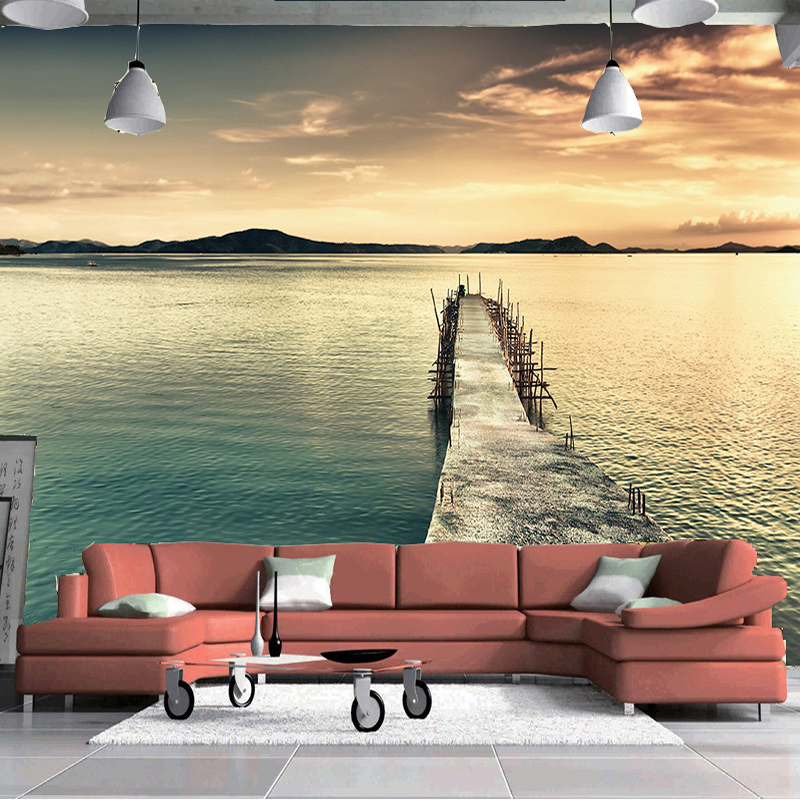 Custom Mural Wall Paper Papel De Parede 3D Mountain Water Painting Nature Landscape Photography Background Photo Wallpaper Roll