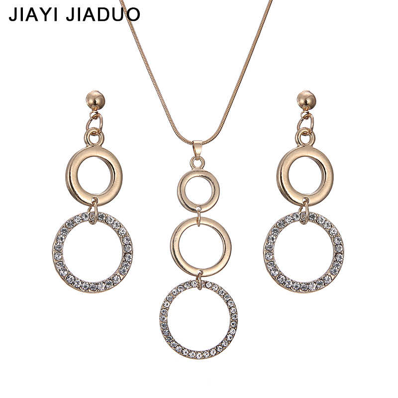 jiayijiaduo New Wedding Women Jewelry Gold-Color Round Necklace Earrings Sets Rhinestone Pendant For Party Costume Accessories