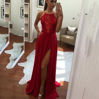 Trust LinDa Glamorous Red Bridesmaid Dresses Sexy Halter Side Slit Women Bridal Party Wear Dress Custom Made Prom Gowns 2018