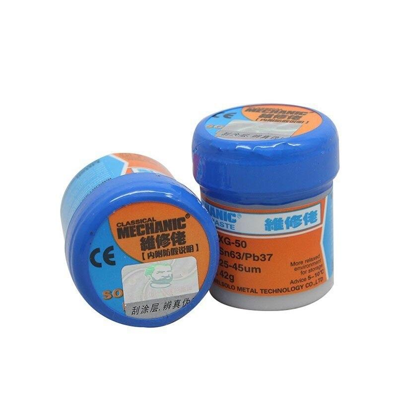 MECHANIC XG50 Liquid Solder Paste 42g SN63/Pb37 BGA flux for reballing machine 50ml empty liquid plastic flux bottle for dispenser rosin solder flux paste 11 needles tool parts random color