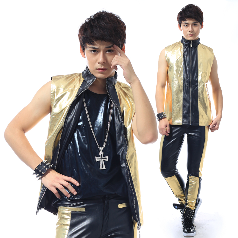 S-5XL!!! 2018  black stitching fashion leisure male singer costumes In Europe and the British ma3 jia3 su The singer's clothing