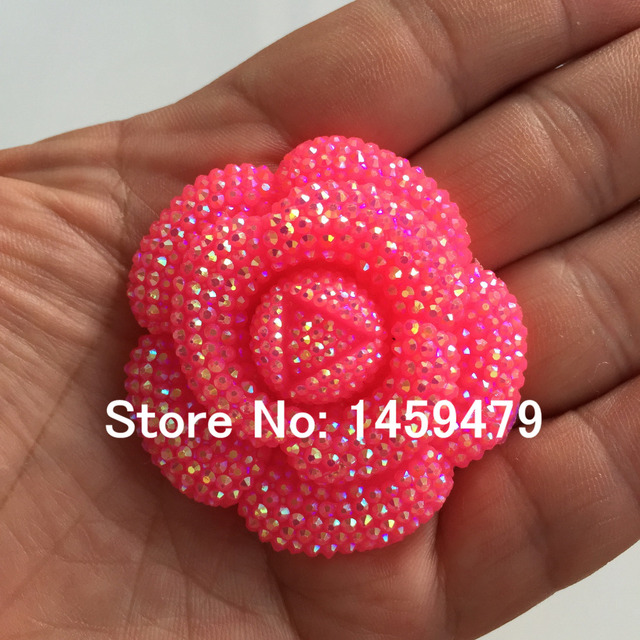 New 3D Flowers Large Resin Mei Red AB Stick-On Crystals Rhinestones DIY  Craft art Accessory Stones 4pcs 47mm b3b0ba964375