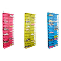 Hot Closet Ware Clear Over The Door 26 Pocket Shoe Organizer Washable Polyester Shoe Rack Hanging