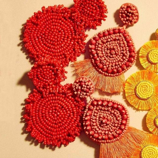 Dvacaman богемный красные бусины кисточкой серьги для Для женщин большой бахромой длинные серьги Капельки серьги-капельки с имитацией листьев ювелирные изделия оптом A9