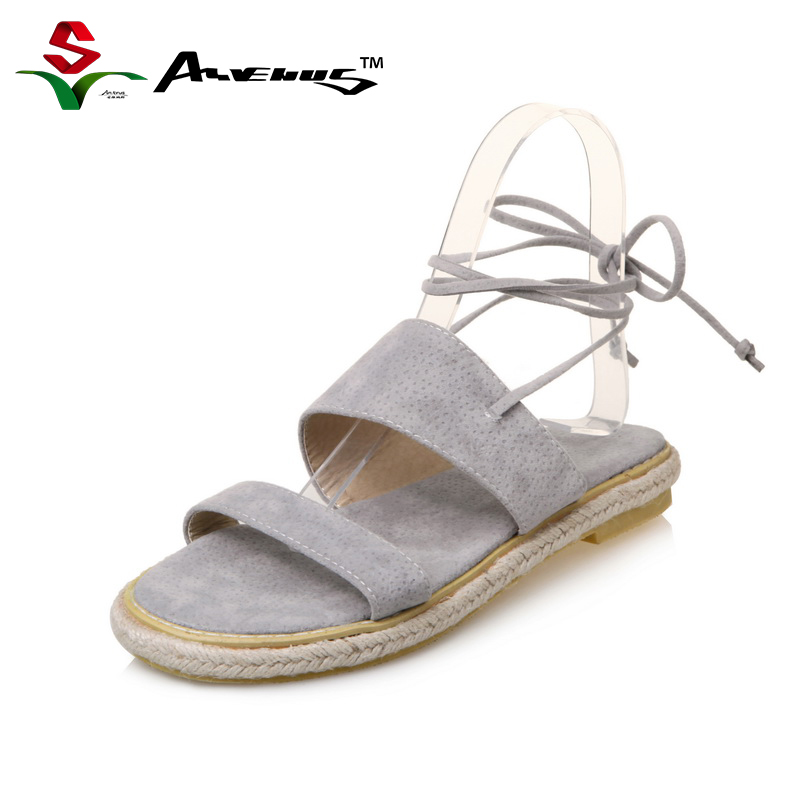 Anvenus Women Fashion Sexy Flock Summer Sandals New Ankle Strap Flat Heel Lady Girl Leisure Elegent Beach Shoes Large Size 35-45 xiaying smile summer new woman sandals platform women pumps buckle strap high square heel fashion casual flock lady women shoes
