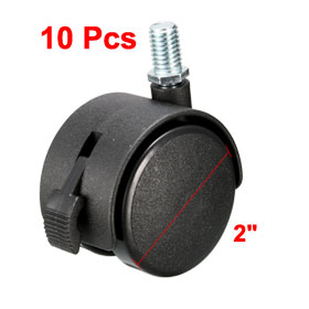 Uxcell Hot Sale 10Pcs 10 x 15mm Threaded Stem Nylon 50mm Swivel Twin Caster Wheels with Brake for the Furniture,Shopping Cart