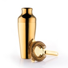 Golden 550ml Cocktail Shaker With Ice Strainer