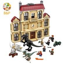 2018 legoing 75930 1046 шт. Юрского периода мир динозавров Indoraptor Rampage в Локвуд Estate Building Block игрушки для детей 10928