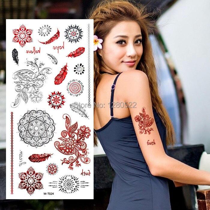 2 Blätter Temporäre Indische Henna Tattoo Feder Flash Metallic Tattoo Silber Rot Tatoo Körper Kunst für Frauen Strand Tatuagem