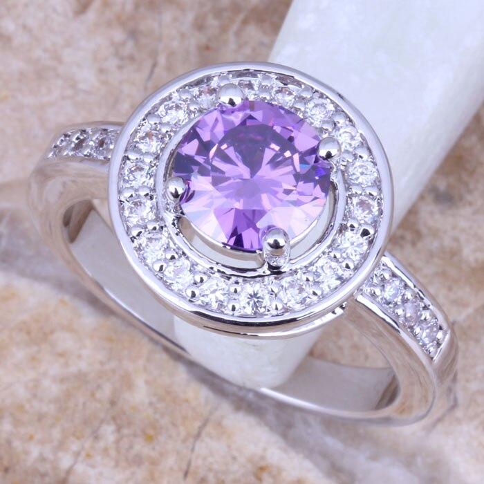 c206f29bbd7 Zirconia cúbica púrpura blanco CZ plata estampada 925 mujeres tamaño del  anillo 6 7 8 9 r0859