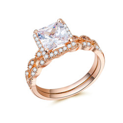 Huitan Halo Cocktail Party Ring with Square Cutting White CZ Prong Setting Women's Fashion Jewelry Rings wholesale lots bulk