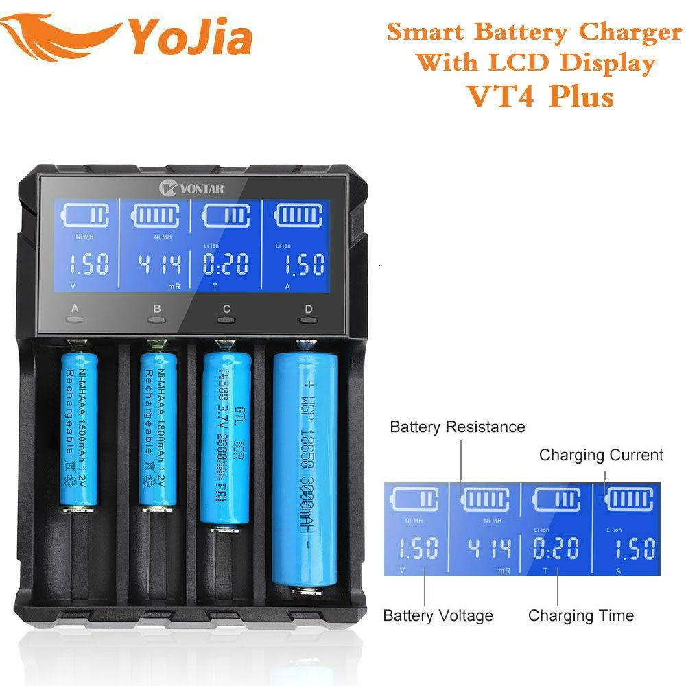 Yojia Smart USB Battery Charger VT2 VT4 PLUS for Li-ion Ni-MH Ni-Cd AAA 1.2V 3.7V 14500/18350/18650/22650 Rechargeable battery yojia vt4 plus lcd 18650 battery charger lifepo4 rechargeable battery for li ion nimh ni cd aa aaa 26650 14500 22650 charger