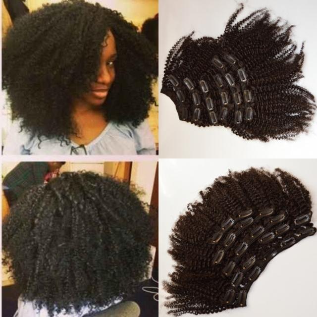 Envío libre 4b / 4c rizado afro pelo virginal mongol clip en extensiones de cabello, 100% sin procesar humano clip ins tramas del pelo, 6 unids/set
