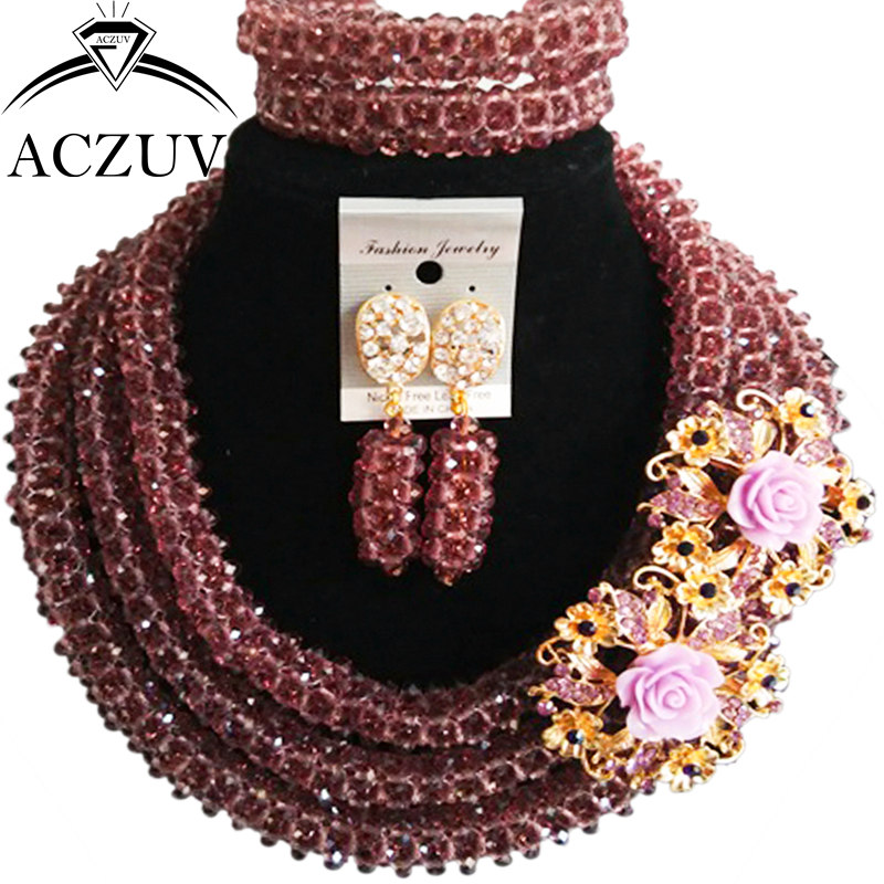 ACZUV Dark Purple Crystal Beaded Nigerian Wedding Beads African Jewellery Sets for Women B3R012ACZUV Dark Purple Crystal Beaded Nigerian Wedding Beads African Jewellery Sets for Women B3R012