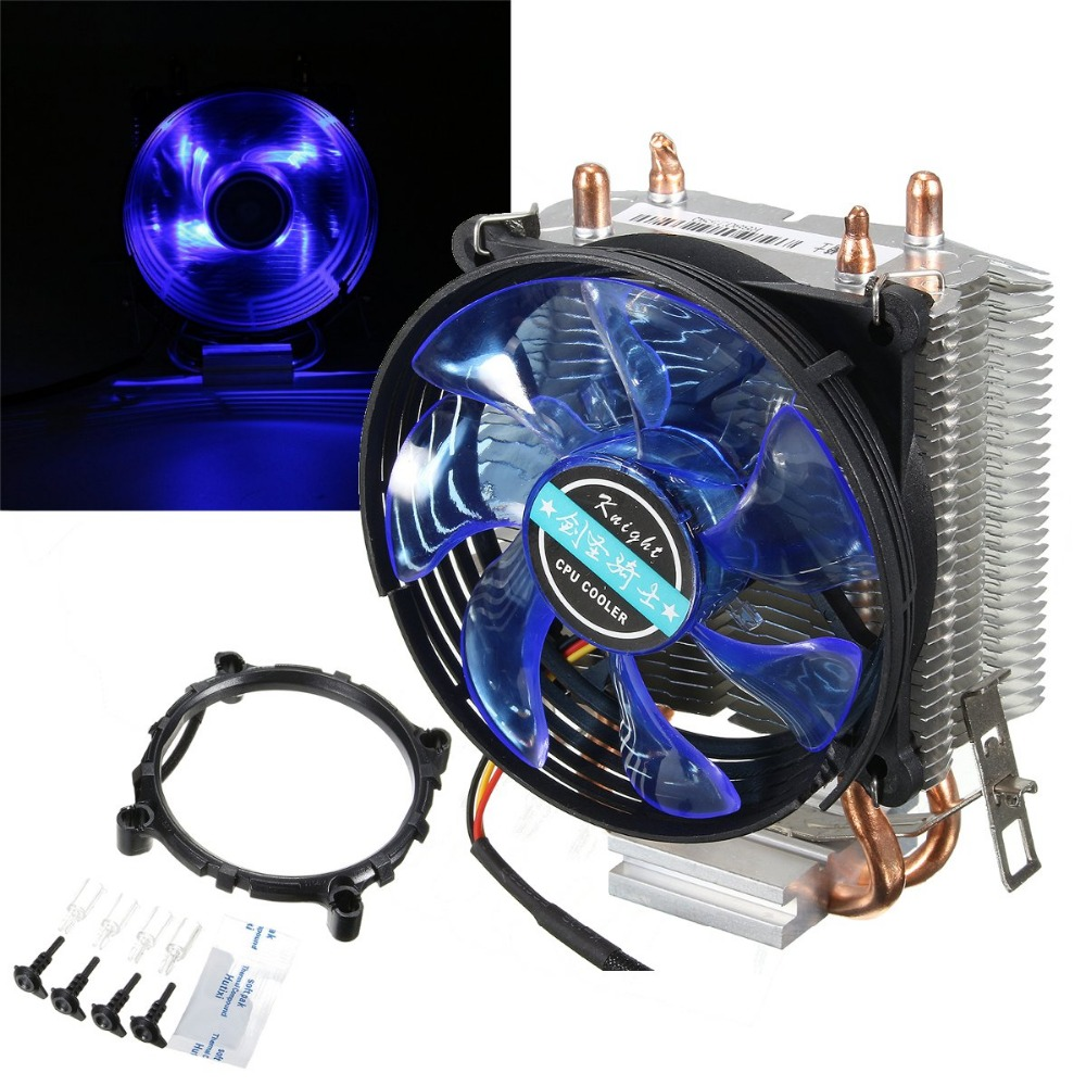 12V Dual CPU Cooler Fan Quiet Blue LED Light 92x92x25mm 3pin Powerful Fan Heatsink for Intel LGA775/1156/1155 for AMD AM2/3/AM2+ 2 heatpipes blue led cpu cooling fan 4pin 120mm cpu cooler fan radiator aluminum heatsink for lga 1155 1156 1150 775 amd