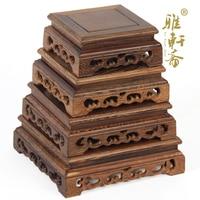 F Red Jade Carving Jade Stone Base Decoration Crafts Flower Vases Wooden Set Of Four Affirmative