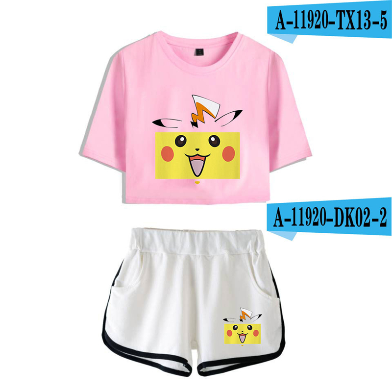 Pikachu Crop Top Set Anime Pokemon 2019 New Movie Short Two Piece Set Pink Streetwear Womens Fashion Top And Shorts Set Cropped