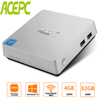 Mini PC 4GB RAM With Intel Atom Z8350 1.92GHz 32GB EMMC Windows 10 HDMI VGA 2.5inch HDD Dual Band WIFI Supports Mini Computer PC