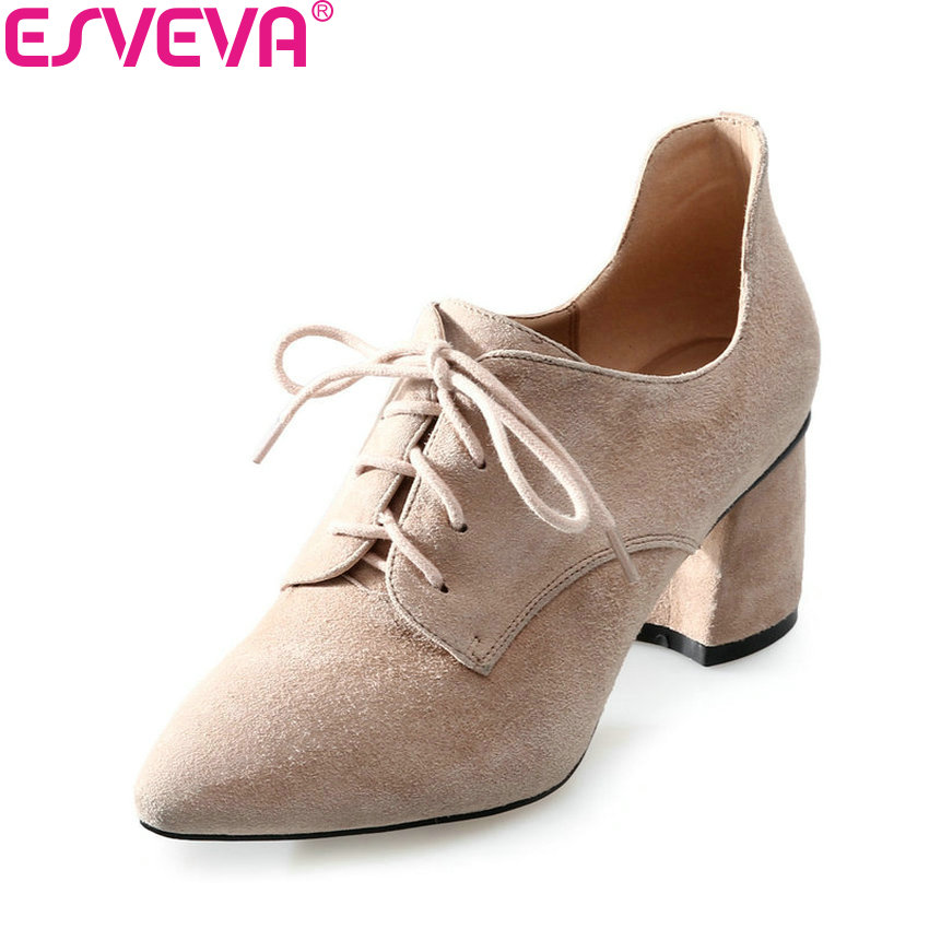 ESVEVA 2018 Women Pumps Shoes Kid Suede PU Fashion Square High Heels Pointed Toe Lace Up Elegant Black Ladies Shoes Size 34-39 esveva 2017 new pointed toe pu women pumps lace up british style fashion shoes women spring square high heel pumps size 34 39