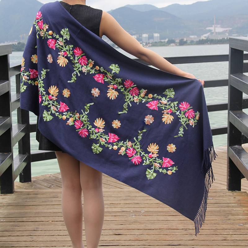 Fashion Accessories Blue Long Warm Cashmere Women Scarf 2018 Pashmina Scarves Tassel Thick Embroidery Wool Ladies Scarfs Shawl