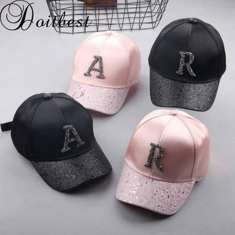 Doitbest Children Hip Hop   Baseball     Cap   Rhinestone Frosted Summer kids Sun Hat Boys Girls Solid snapback   Caps   Parent-child   caps
