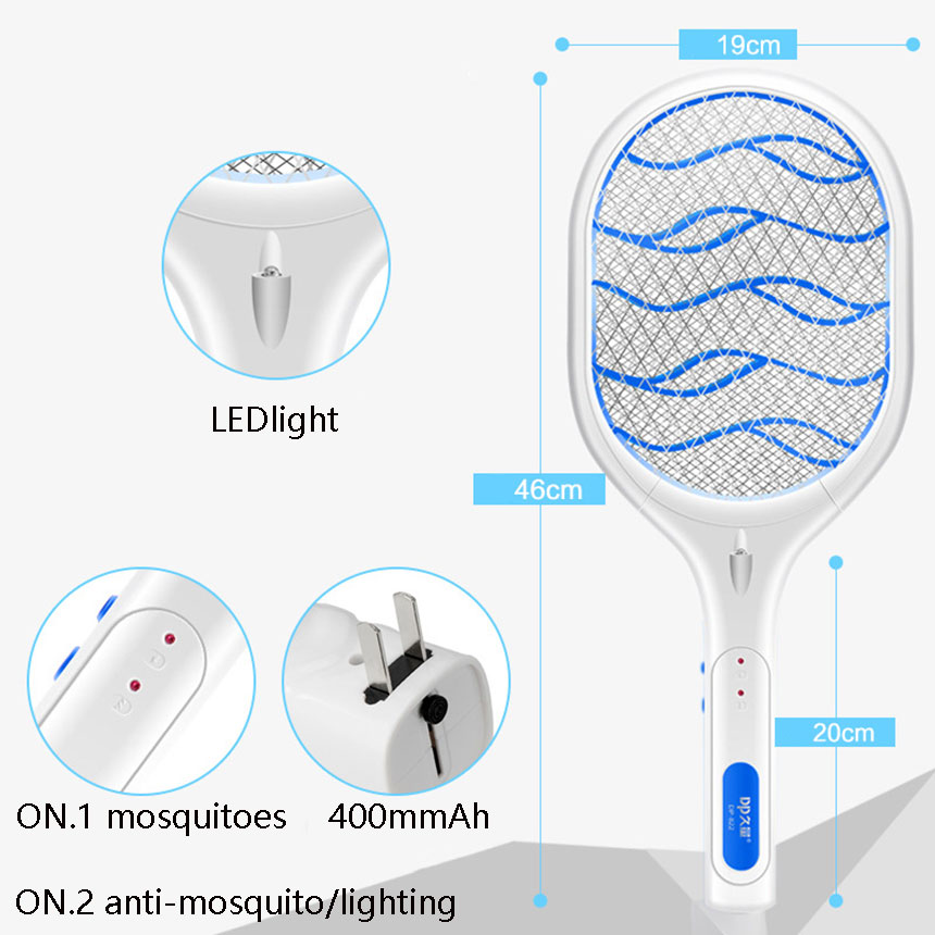 Electronic portable mosquito bat night light Bug Zapper raquete mata Fly  Mosquito Killer Pest Control Powered Charging Use