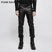 Панк РЕЙВ панк стиль осень зима PU кожа мужские черные синтетические кожаные тонкие кожаные брюки для байкеров мужские длинные брюки