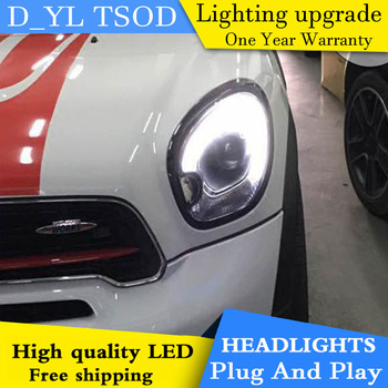 D_YL Car Styling for MINI Countryman R60 Headlights 2011-2016 R60 LED Headlight DRL Lens Double Beam H7 HID Xenon bi xenon lens