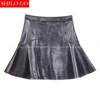 2017 autumn winter fashion new women high quality sheepskin high waist zipper trumpet mermaid ruffles short leather skirt 3XL
