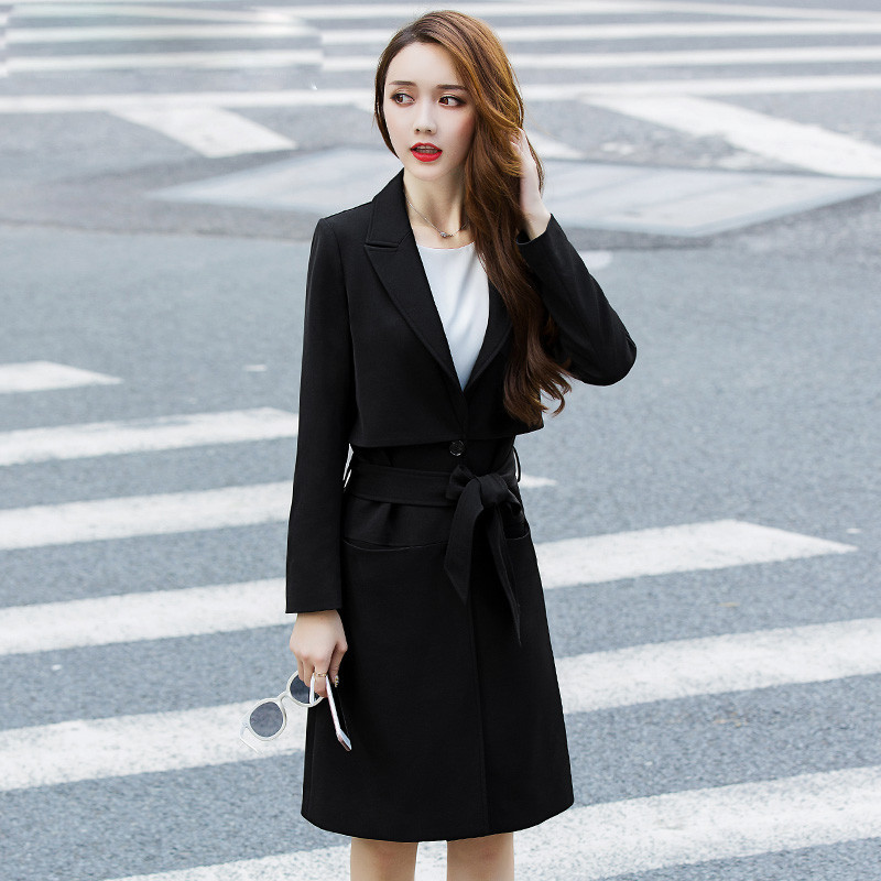 Manteau Mode Fit Outwear Longues Manches Dames Tranchée Trench Gris Ma147 Casual À Noir Manteaux Femmes Slim grey Ceinture Black Avec wIP0pqnf