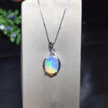 Uloveido Vuur Opaal Hanger Ketting voor Vrouwen, 925 Sterling Zilver, 8*10mm Gecertificeerd Kleur Veranderende Edelsteen Sieraden FN150