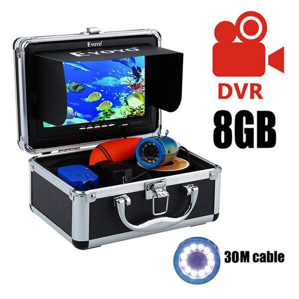 """Eyoyo 30м 1000TVL камера рыбоискатель подводная рыбалка видеокамера """" монитор солнцезащитный козырек инфракрасный светодиод - Цвет: 30M White LED DVR"""