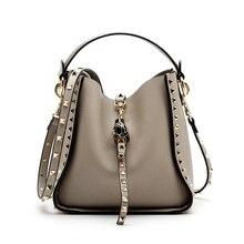 NEW ARRIVAL Summer Handbag Genuine Leather Rivet Shoulder bag Hasp Messenger Pure In Womens Totes Bolso