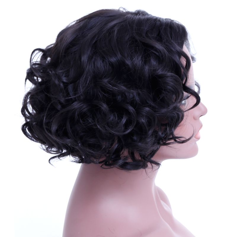 SHANGKE Short Curly Wigs For Black White Women Heat Resistant Synthetic Hair Wigs For African American Natural Fake Hairpieces