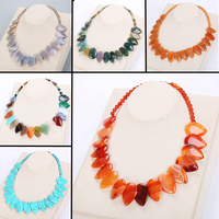 c976d1d353ad 50cm Leaf Pendant Necklace Ethnic Women Choker Natural Stone Jewelry  Gemstone Female Fashion Accessories Vintage Male