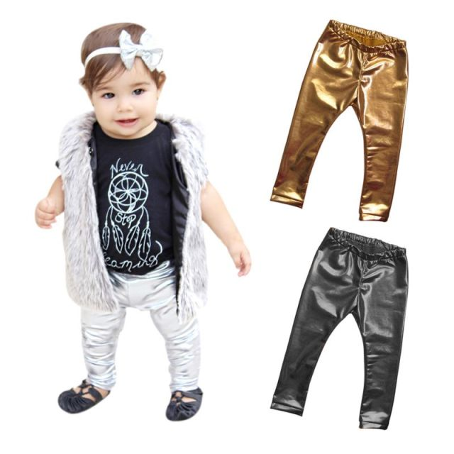 Children Girls Leather Bronzing Pants Leggings Skinny Elastic Waist Child Baby Casual Solid Black Warm Trousers 2017 New HOT 3