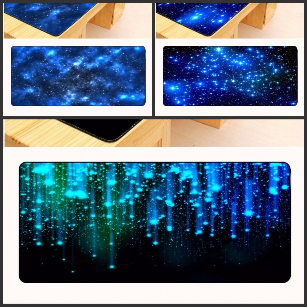Yuzuoan Blue starry Sky Rubber Gaming Mouse Pad Desk Mat For PC Laptop Computer CS XL 900*400mm Free Shipping Large Overlock