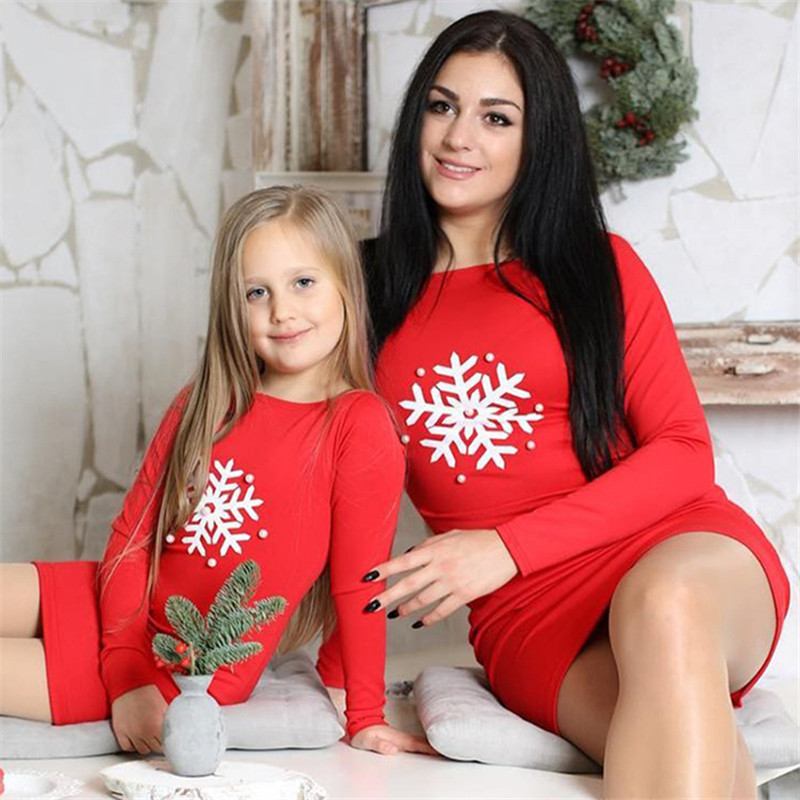 Autumn Family Mom Mother And Daughter Dresses Christmas Matching Womens Girls Print Folral Party Tutu Dress Clothes Outfit C0462